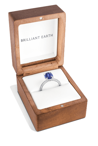 Gemstone engagement ring in box