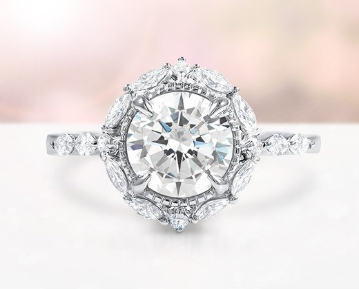 custom distinctive halo diamond ring - Design A Wedding Ring
