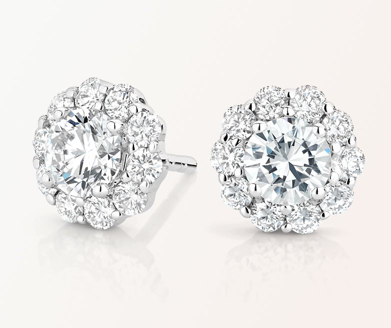 Intricate halo diamond earrings