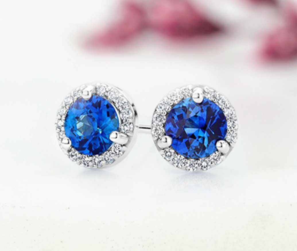 Sapphire halo stud earrings