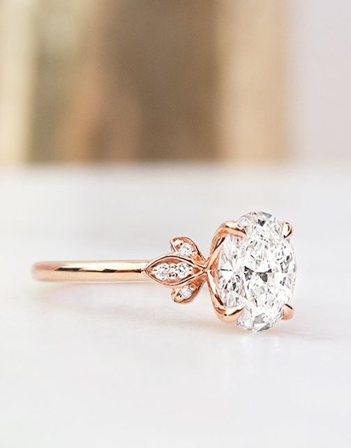 Unique nature inspired rose gold engagement ring