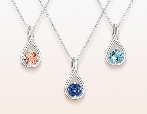 Sapphire, aquamarine, and morganite gemstone necklaces