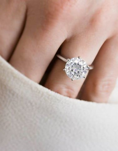 Large solitaire moissanite ring