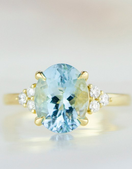 Aquamarine with intricately detailed setting