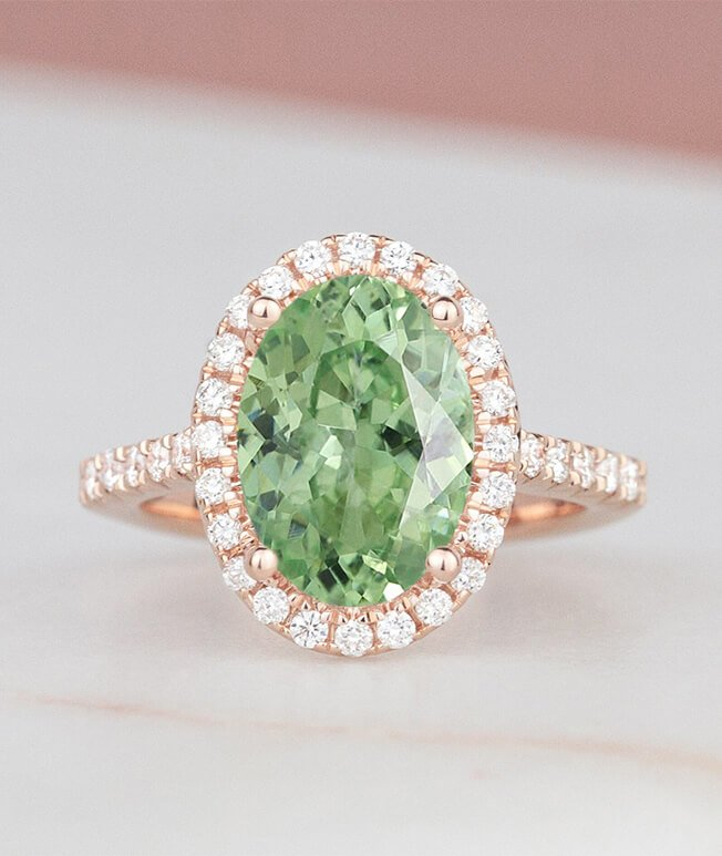 Emerald rose gold engagement ring