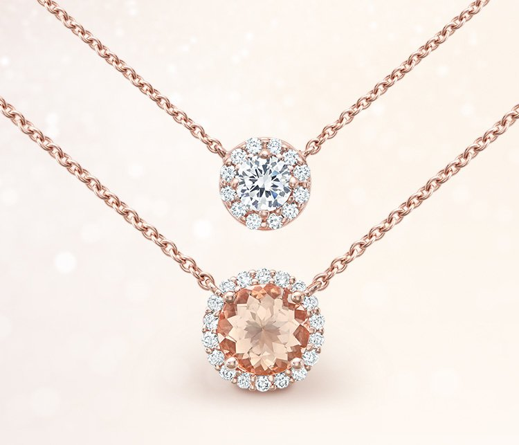 Halo diamond and morganite rose gold necklaces
