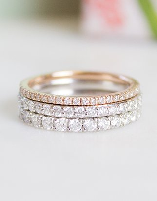 Stacked diamond pave wedding rings