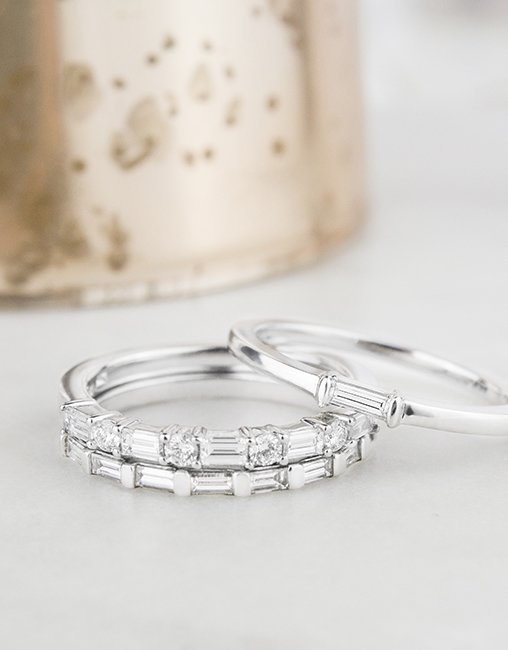 Baguette diamond stacking rings