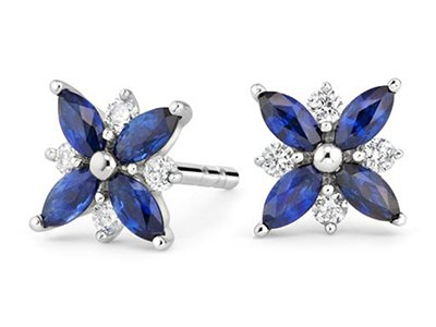 Sapphire and Diamond Petal Earrings
