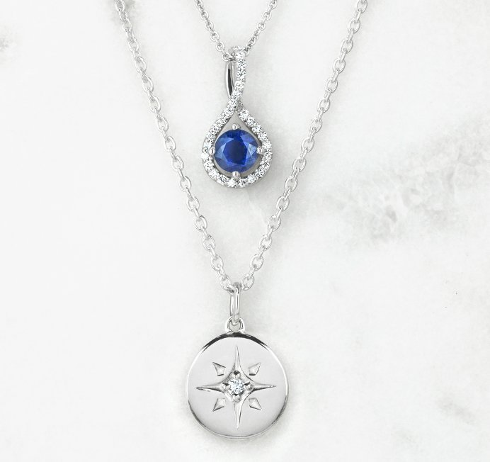 Sapphire and diamond necklace with chic silver necklaces