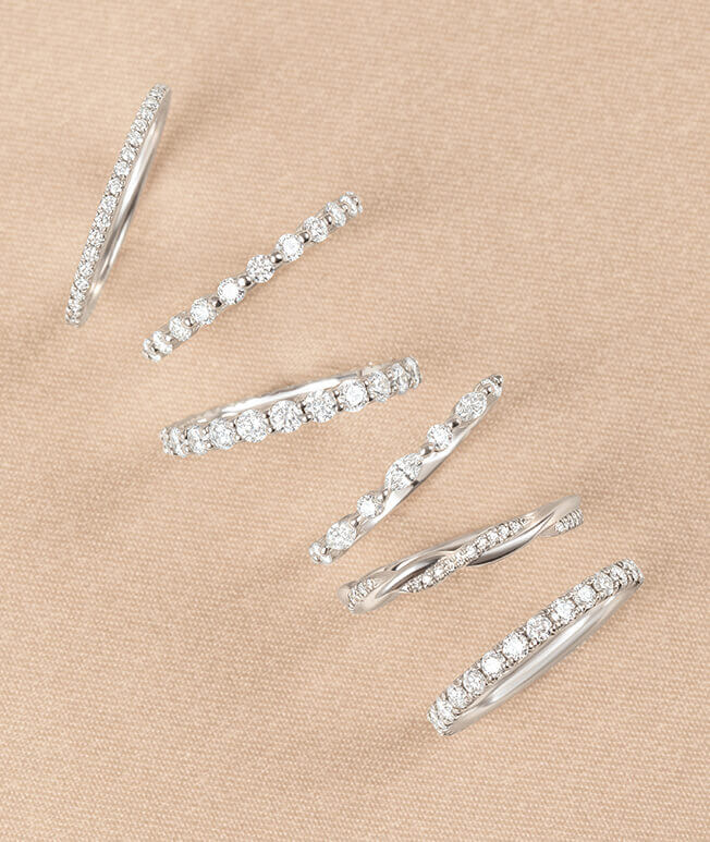 White gold diamond stackable rings