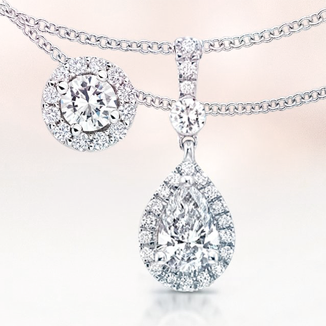 Halo diamond necklaces