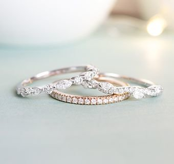 Rose gold and white gold wedding bands