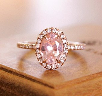 Morganite halo engagement ring in rose gold