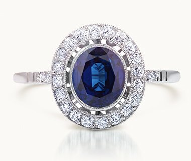 Sapphire halo vintage ring