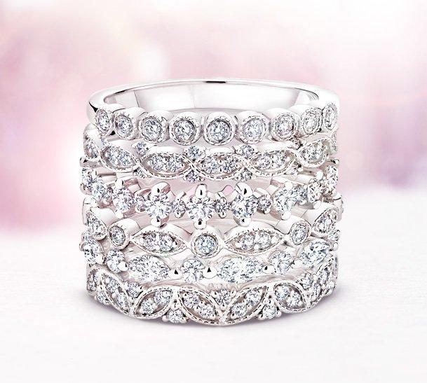 home wedding anniversary rings womens diamond wedding bands stacked - Wedding Anniversary Rings