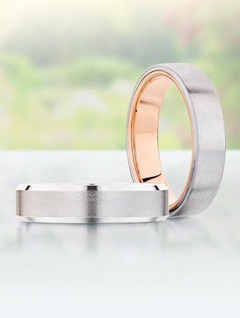 Classic men's wedding band and two tone men's ring