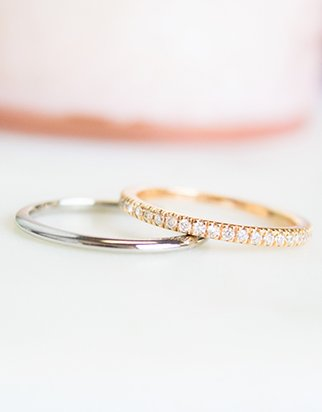 Classic wedding band with a diamond pave wedding ring