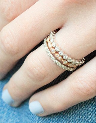 Stacked diamond eternity rings