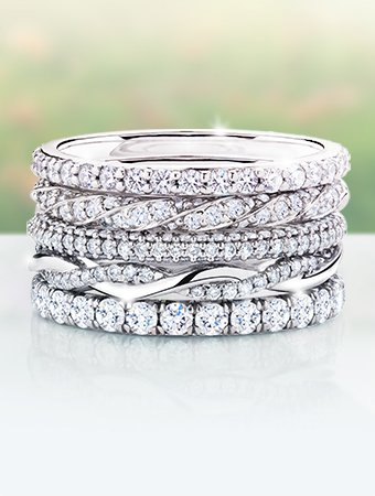 Women's diamond wedding bands stacked