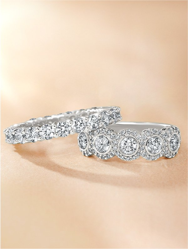 Shared prong wedding band and vintage inspired diamond anniversary ring