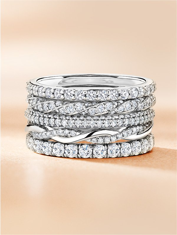 Women's diamond wedding ring stack