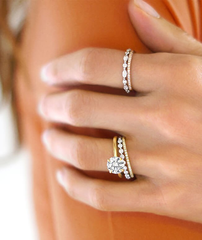 Engagement ring and diamond wedding ring stack