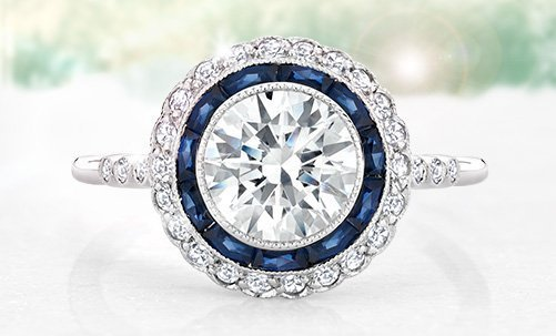 One-of-a-kind vintage ring with diamond and sapphire halos