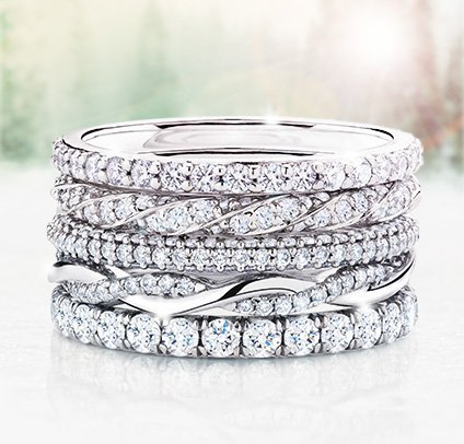 Stacked women's diamond wedding rings