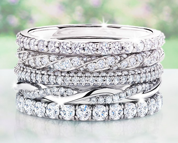Stack of diamond wedding rings