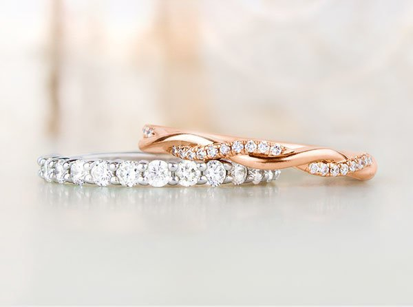 Pair of diamond wedding rings