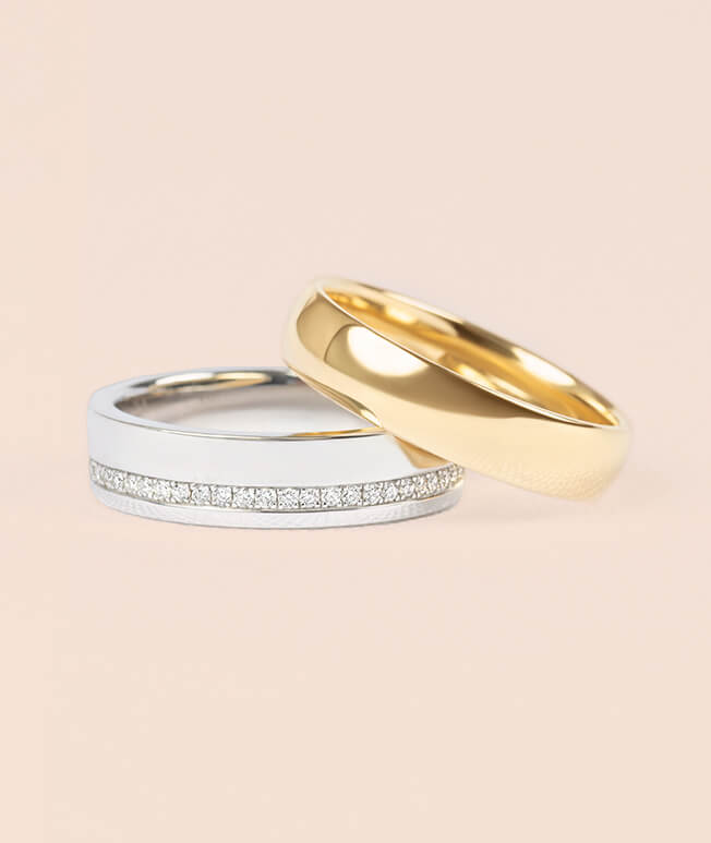 White gold and yellow gold men's wedding bands